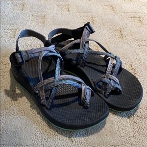 Teal and purple Chacos